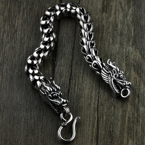 Image 1 - Dragon Scale Bracelet Chain Real Pure 925 Sterling Silver Double Heads Vintage Punk Rock Retro Style Men Jewelry