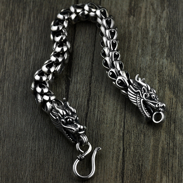 Dragon Scale Bracelet Chain Real Pure 925 Sterling Silver Double Heads Vintage Punk Rock Retro Style Men Jewelry