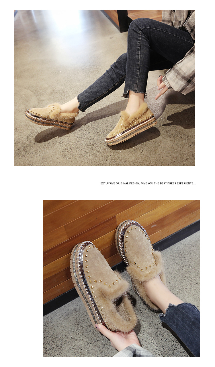 2019 Winter New Women Fur Loafers Comfortable Casual Platform Sneakers 70
