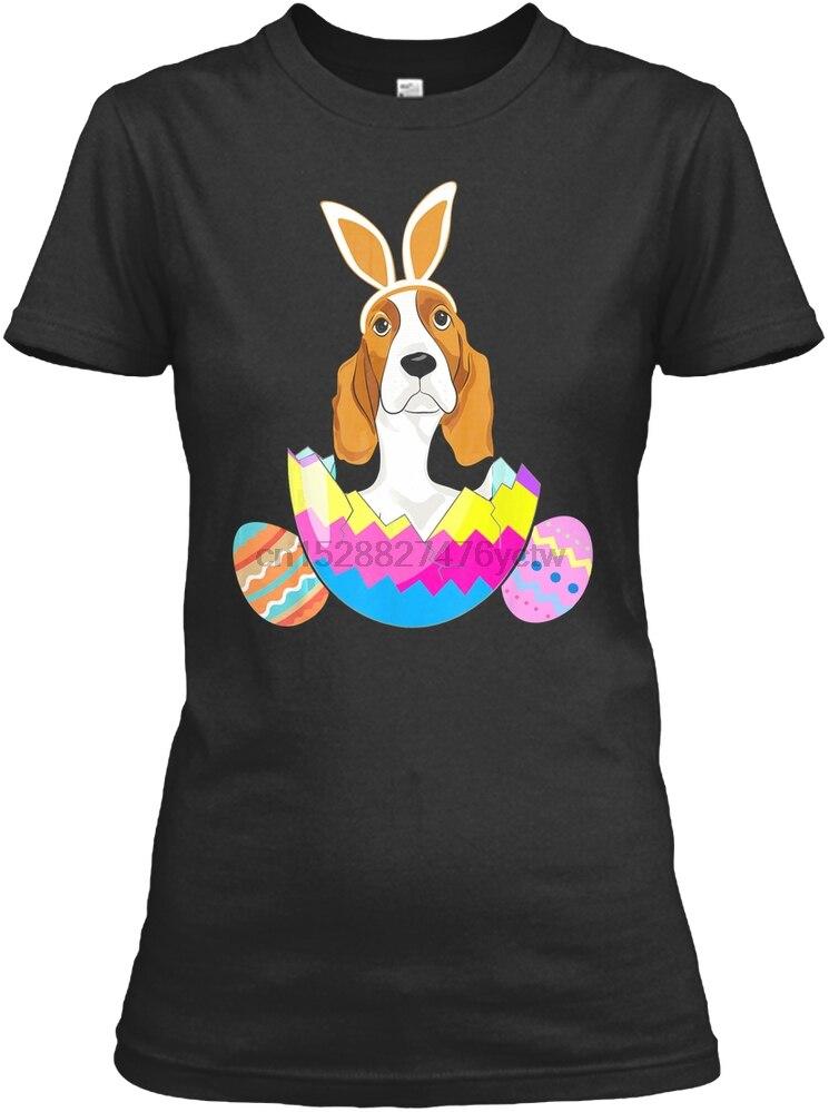 Men T Shirt Basset Hound Wearing Easter Bunny Ears F Women T-Shirt