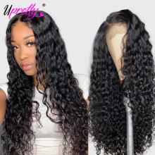 Upretty Hair Water Wave Wig Lace Front Human Hair Wigs 180 250 Density Brazilian Wet and Wavy Pre Plucked 360 Lace Frontal Wig(China)