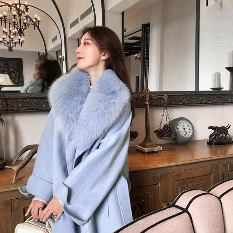 Venda quente natural gola de pele de raposa quente casaco de caxemira solto doce bat manga lã casaco novo outono inverno espessura casaco casual