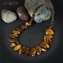 цена на KCALOE Tiger Eye Necklace Women Vintage Accessories Big Natural Stone Waterdrop Design Chokers Necklaces 2017 Maxi Colar