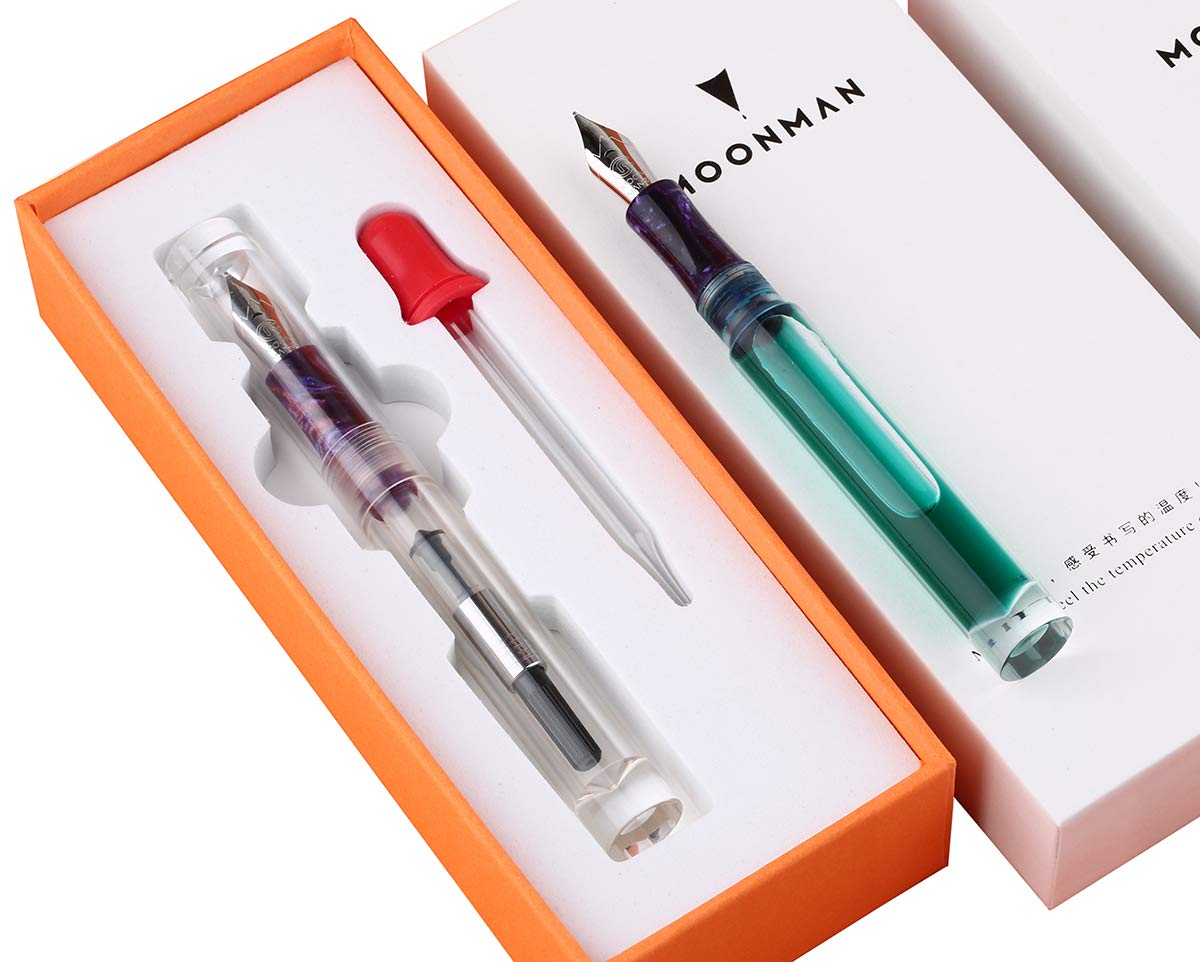 On-Sale! NEW Moonman C1 Dropper Fountain Pen Fully Transparent Large-Capacity Ink Storing Iridium Fine 0.6mm Fashion Gift Pen