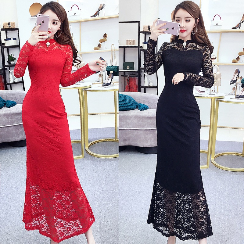 Fly Home Shop Debutante Elegant Fashion 2019 Autumn And Winter New Style Stand Collar Hollow Out Lace Dress Slim Fit Slimming Ev