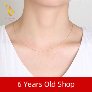Image 5 - NYMPH Подлинная 18K белая цепочка из желтого золота 18 дюймов au750 цена ожерелье кулон Wendding вечерние подарок для женщин [G1002]