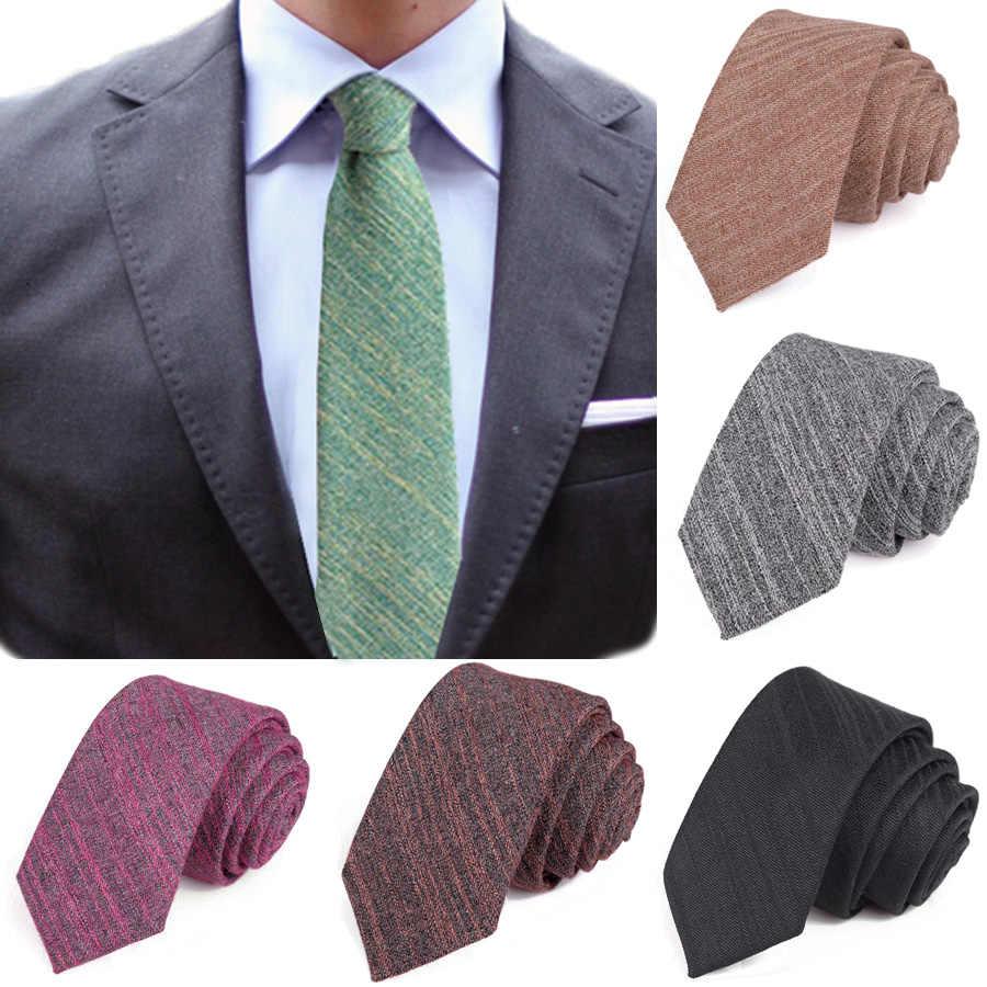 Moda 6cm sıska keten kravat yeşil gri katı pamuk ince kravat erkekler için parti eğlence dar boyun bağları aksesuarları