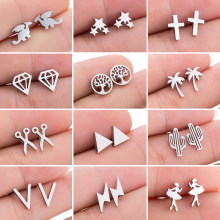 Mini boucles d'oreilles en acier inoxydable, bijoux à la mode, petits animaux, Punk croix étoile Dragon Ballet, cadeaux