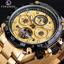 Forsining Golden Tourbillon Male Mechanical Watch Big Dial Automatic Moonphase Date Steel Band Sport Racing Car Wristwatch Clock