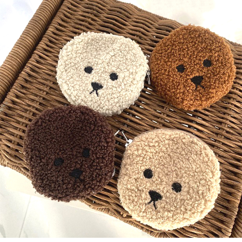 Happy Monkey Kawaii Animal Plush Purse Toy Mini Cute Cartoon Fluffy Soft Stuffed Dog Coin Bag Gift For Birthday For Kids Adults