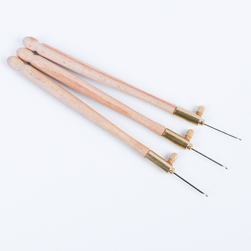 Wooden Handle Tambour Crochet Hook with 3 Needles French Crochet Embroidery Beading Hoop Sewing Tool Set DIY Craft