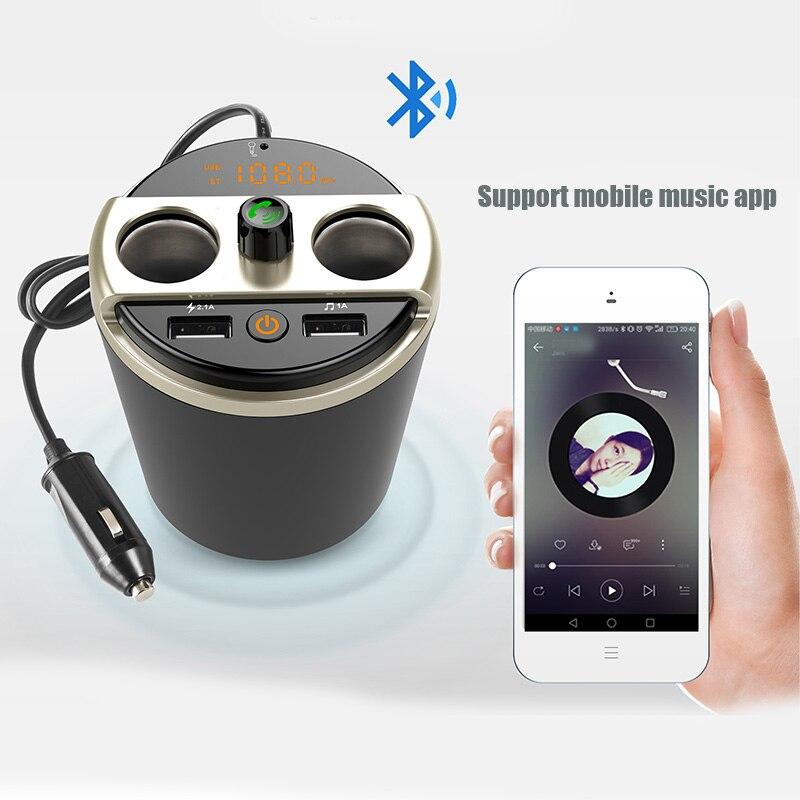 Multifunctional Car Phone Charger Bluetooth MP3 Player FM Transmitter Cup Cigarette Lighter Adapter EM88