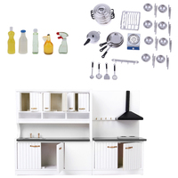 1/12 Dollhouse Furniture Kitchen Cabinet Model Kitchen Ware and 5pcs Cleaning Tools Miniature Decoration