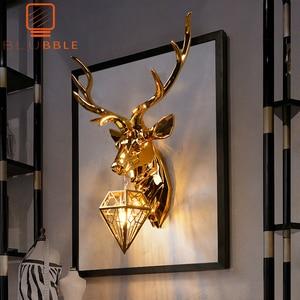 Image 1 - BLUBBLE Nordic Christmas Deer Antler Wall Lamp Creative Wall Lamps Deer Lamp Bedroom Buckhorn Kitchen Wall Lights for Home Decor