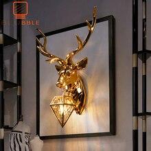 BLUBBLE נורדי חג המולד צבי קרן צבי קיר מנורת קיר יצירתי מנורות צבי מנורת שינה Buckhorn מטבח קיר אורות עבור בית תפאורה