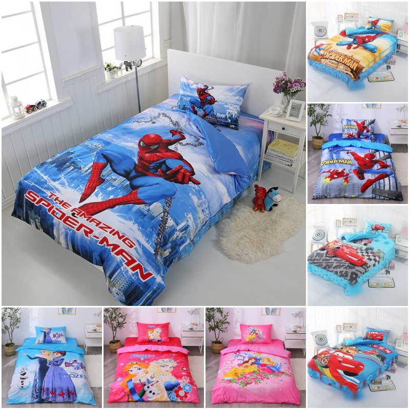 Disney Super Hero Spiderman 100% Cotton Bedding Set Duvet Cover Flatsheet Pillowcases For Baby Boys Kids Bed Birthday Gift
