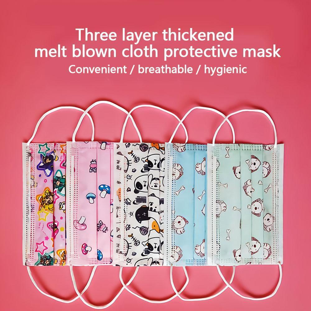 Childern Kids Disposable Mouth Face Mask Cartoon Dustproof Non-Woven Fabric Protective Flu Mask Anti-fog Dust