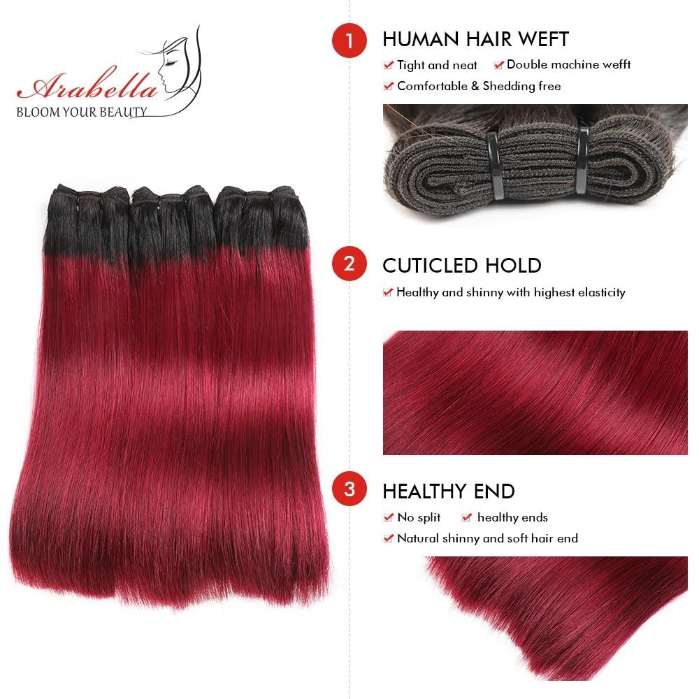 Super Double Drawn Straight Virgin Hair  Bundles 2/3/4 Pcs Ombre Hair  100%  Bundles 1b/99j Hair  3