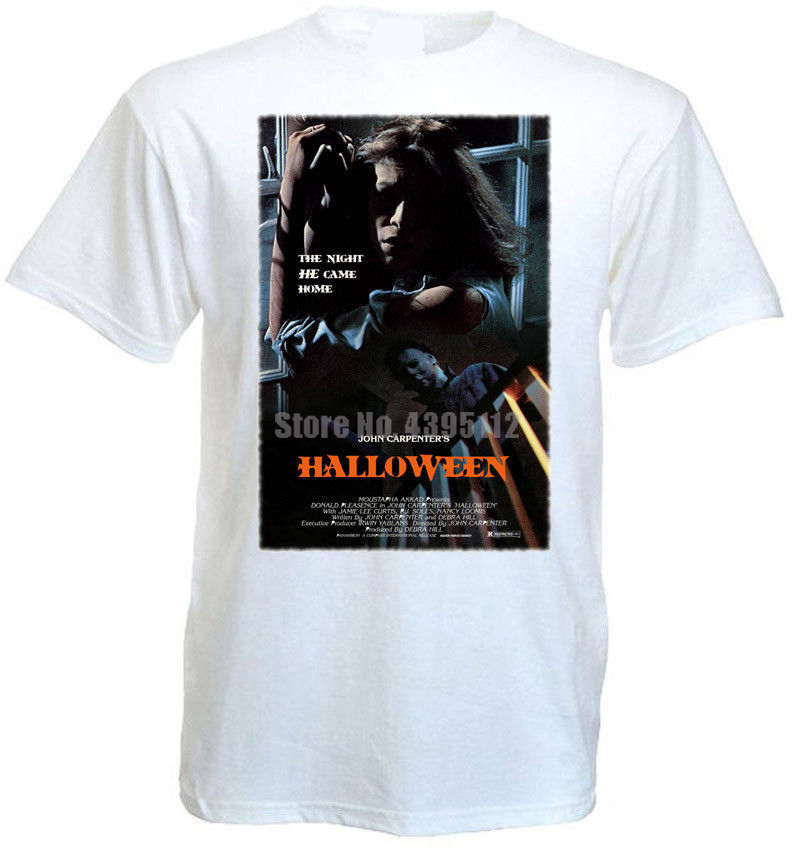 Halloween Movie Poster Male Gym T Shirts Funny Tshirts Gay T-Shirts Graphic Shirt Gothic Style Isenvx image