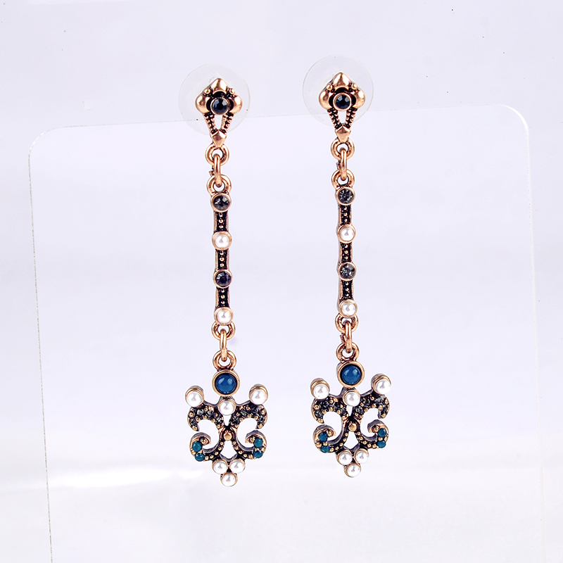 Vintage Gold Color Drop Earrings Indian Jewelry Crystal Dangle Earrings For Women Wholesale Factory