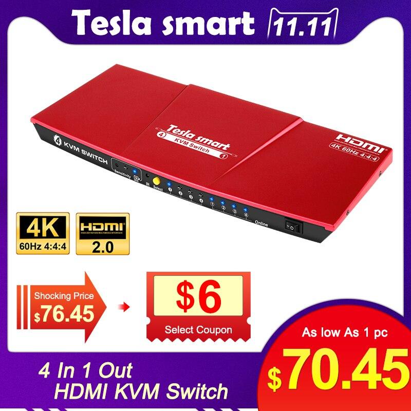 KVM Switch KVM HDMI USB2.0  4 Port Switch Kvm Switch Hdmi Up To 4K@60Hz Control 4 PC Support Unix/Windows/Debian Extra USB2.0