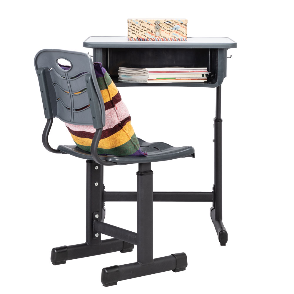 Adjustable Students Children Desk And Chairs Set Black Kids Desk With Large Storage Organizer Bedroom Furniture