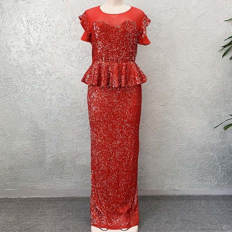 2020 Mesh Sequins Party Dress Women African Clothes O-Neck Evening Dress Plus Size Elegant Flare Short Sleeve Long Maxi Dress