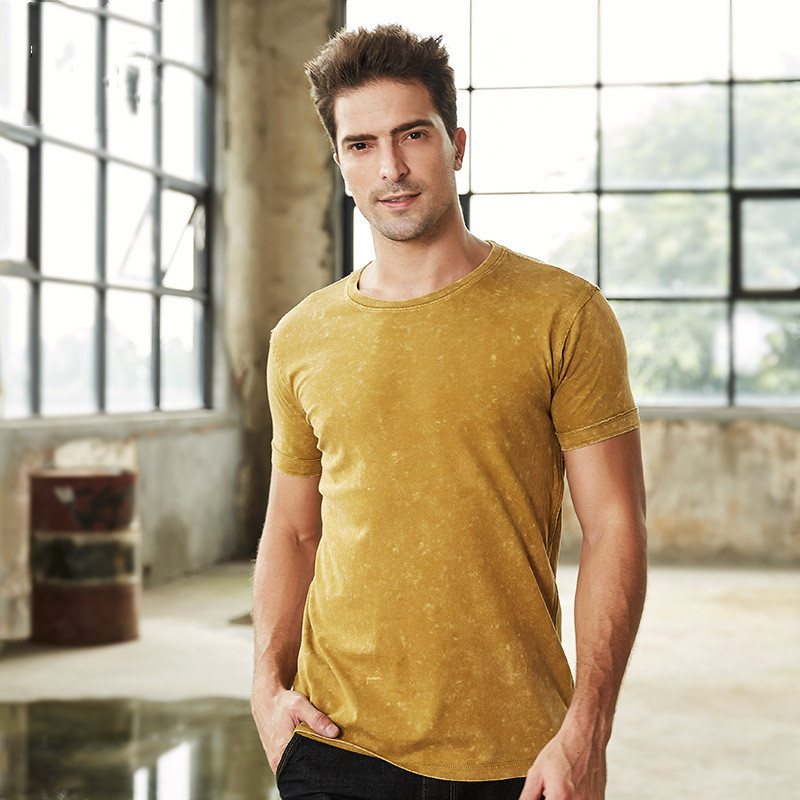 Men/'s Slim-fitted Workout T Shirt Washed Vintage Short Sleeve Tee