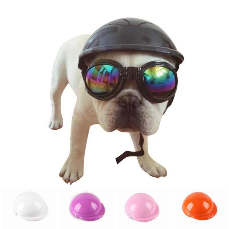 Dog Helmets for Motorcycles with Sunglasses Cool ABS Fashion Pet Dog Hat Helmet Plastic Pet Protect Ridding Cap SML