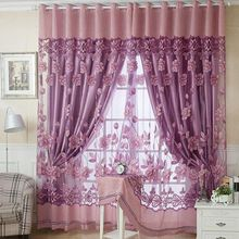 250cmx100cm Luxury Print Floral Voile Door Curtain Window Room Grommet Top Curtain Divider Scarf Home Decor casual poppy print voile scarf