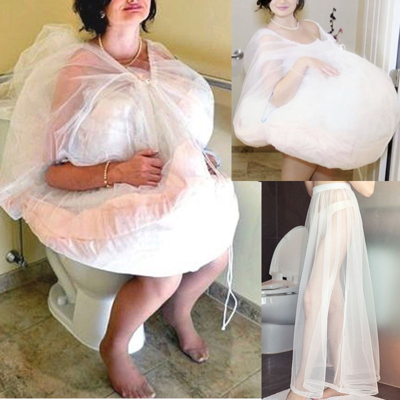 White S-XL Gathering Bridal Helper Buddy Wedding Dress Gown Slip Tulle Underskirt Petticoat Save You From Bathroom Toilet Water