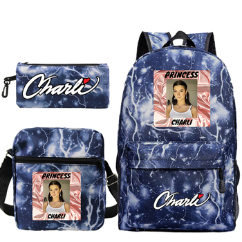 Charli D'Amelio School Bag for Teenage Girls Boys Kids High Capacity Children Student Backpack Teen Shoulder Bag Child Schoolbag anime black butler cosplay backpack anime two elementary elementary junior high school student bag girls shoulder bag backpacker