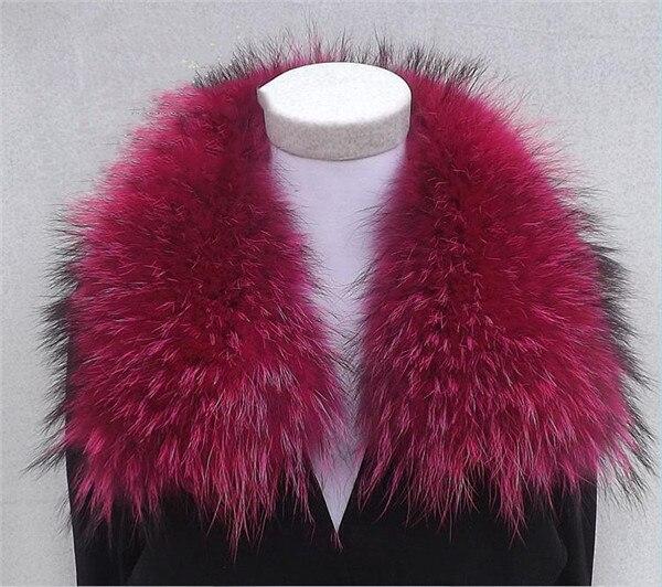 Женский шарф теплый подарок из меха енота ожерелья для куртки шарфы Banand Schal теплый натуральный зимний меховой шарф для женщин - Цвет: Rose Red