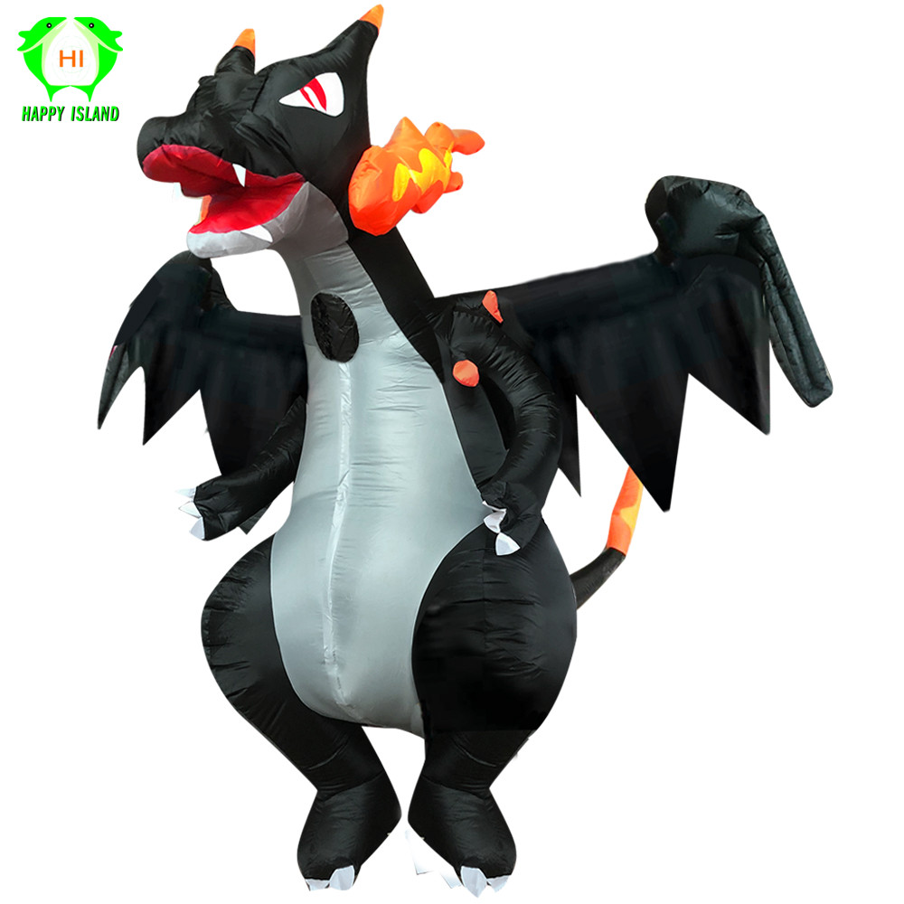 Fire Dragon Dinosaur Inflatable costume Christmas Clothes Inflatable Annual Performance Costume for Christmas Halloween Party