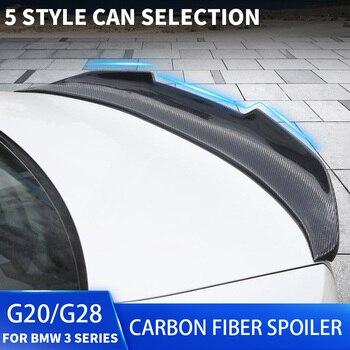 G20 Carbon Fiber Spoiler CS M3 M4 MP PSM Style For BMW 3 Series G20 4-Door Sedan Rear Trunk Boot Lip Ducktail Spoiler Wings carbon fiber rear trunk wings m4 spoiler for bmw 4 series f36 420i 428i 435i gran coupe 4 door 2013 gloss black spoiler wing