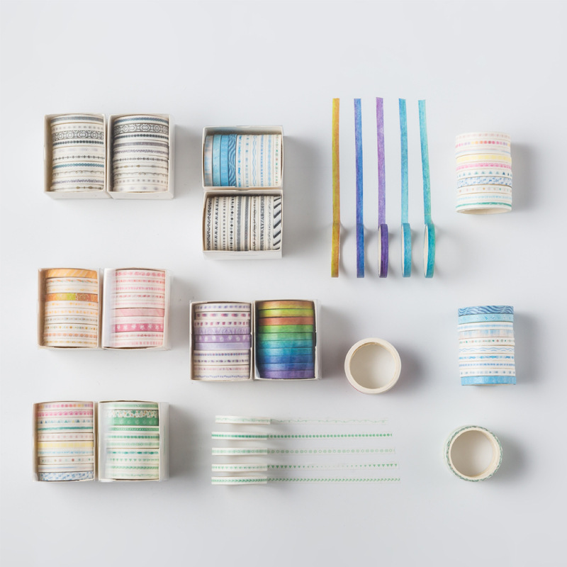 10 Pcs/lot Decorative Retro Pattern Slim Washi Tape Set Japanese Paper Stickers Scrapbooking Adhesive Washitape Stationary
