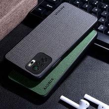 Funda con textura de tela para Xiaomi Redmi Note 10 10S, cubierta trasera suave de estilo Simple para Xiaomi Redmi Note 10