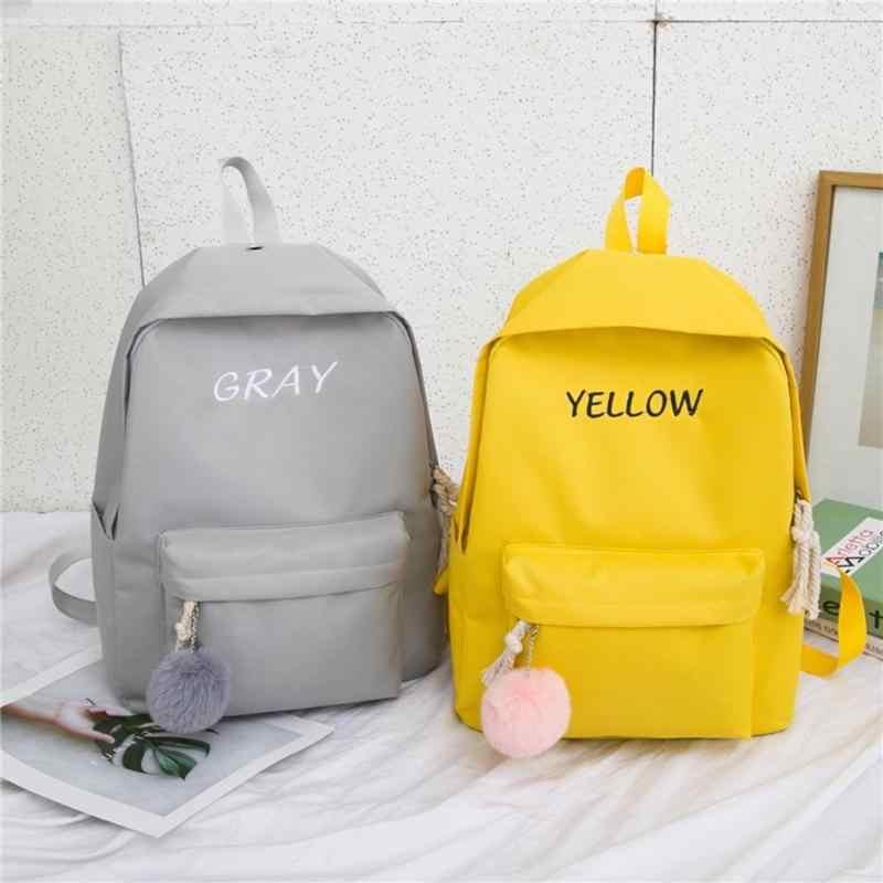 4 pièces/ensemble toile étudiant sac à dos femmes sacs à bandoulière fourre-tout Style Preppy école stylo sac pour femmes sacs de plein air Mochila