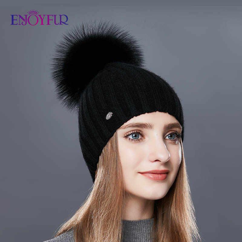 ENJOYFUR Listras Verticais Moda Chapéus de Inverno Para As Mulheres Cashmere Malha Chapéu Feminino Chapéu de Pele De Alta Qualidade Pom Pom Outono Gorro Quente