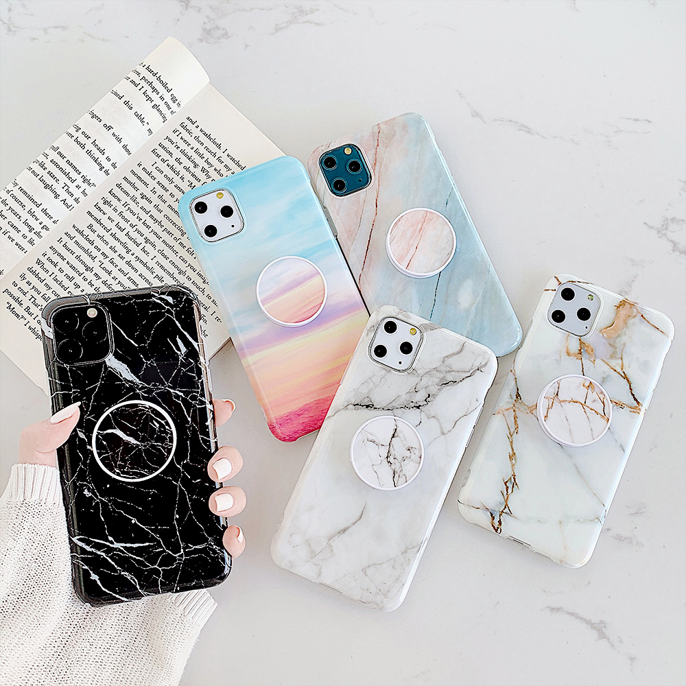 Kickstand Marble Phone Cases For iPhone 11 Pro Max 7 8 6 6S Plus XR XS Max X Case Silicone Cover For iPhone 11 Case Fundas Coque