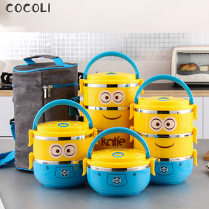 Cartoon Minion Stainless Steel Lunchbox for Kid Tiffin Boxes Thermal Bento for School Students Tableware 4D Lunch Box for Kids