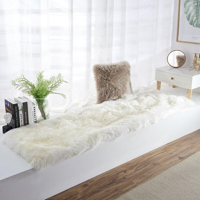 Square Shaped Real Sheepskin Bay Window Rug 80*220cm Sheep Fur Bedside Carpet Shaggy Sheep Fur Decor Sofa Cushion Fur Blanket