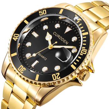 Darmowe upuszczanie rola zegarek mężczyźni zegarki kwarcowe męskie Top luksusowa marka zegarek człowiek złota stal nierdzewna Relogio Masculino wodoodporna tanie i dobre opinie Sovoadur 23 5cm Moda casual QUARTZ NONE 3Bar Zapięcie bransolety CN (pochodzenie) STAINLESS STEEL 12mm Szkło Kwarcowe zegarki