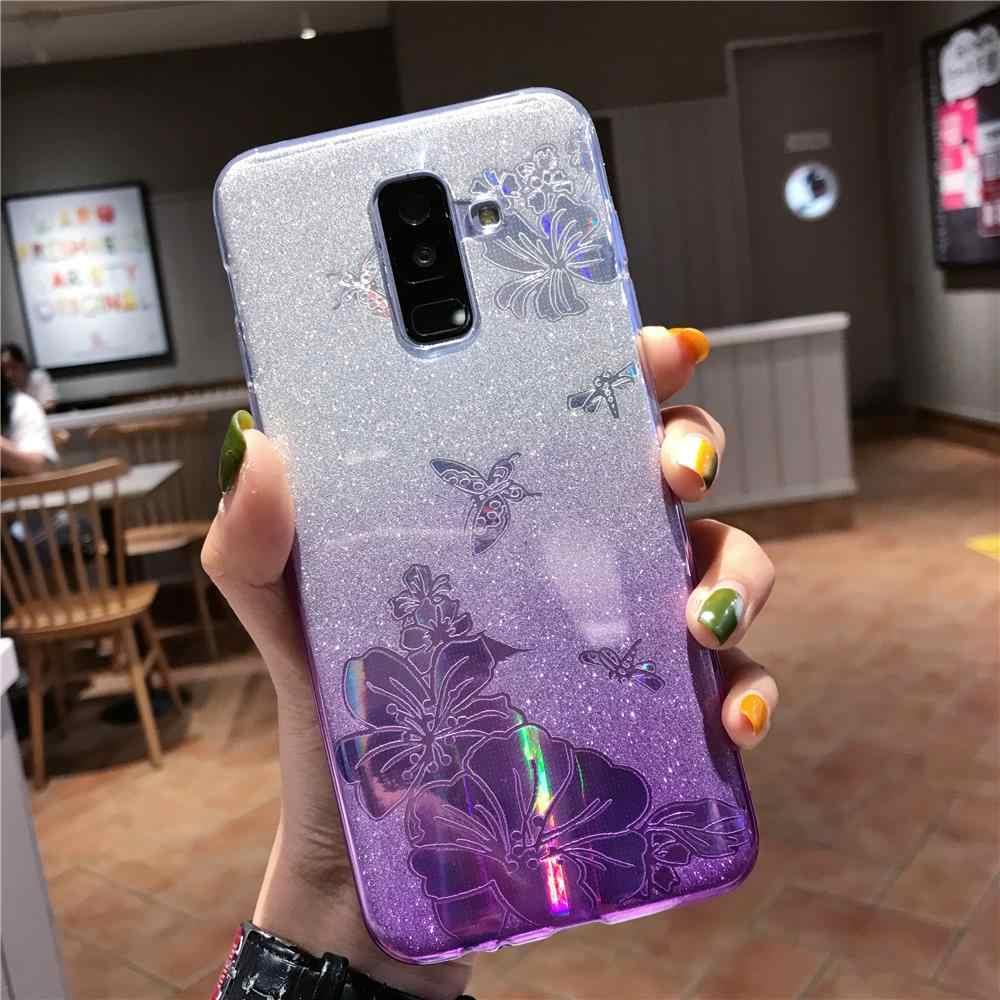 Gradien Buterfly Rose Bunga Glitter TPU Case untuk HUAWEI Mate 20 Lite 30 10 Pro Honor 9 8A 7A 9X 8X 8C 7C Cover Lembut Ponsel Case
