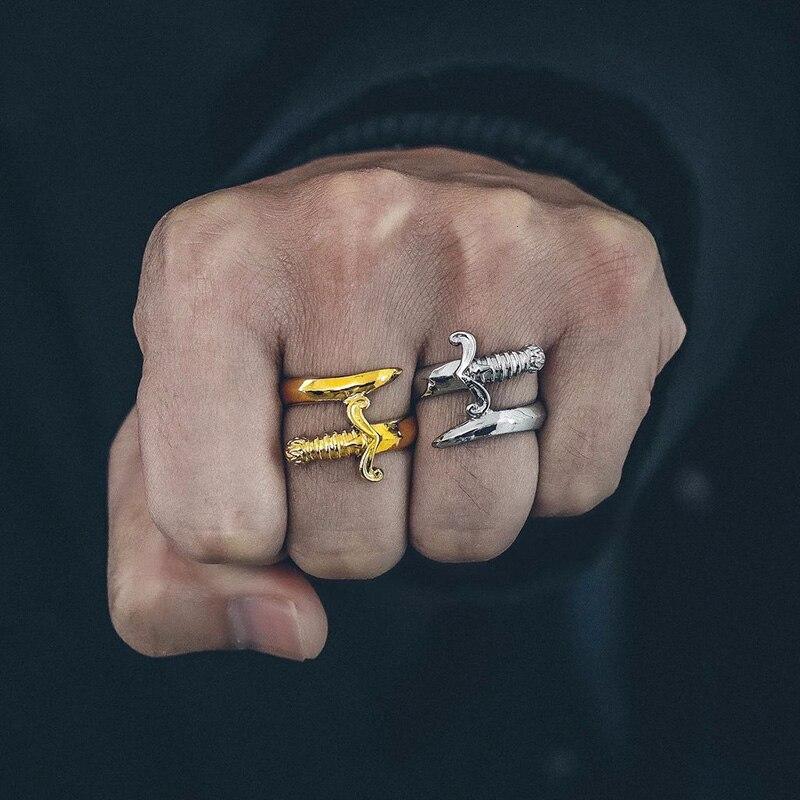 Vnox Einzigartige Dolch Ring für Männer Farbe Edelstahl Tough Mann Schmuck Punk Messer Männlichen Mister Anel Gent Allianz