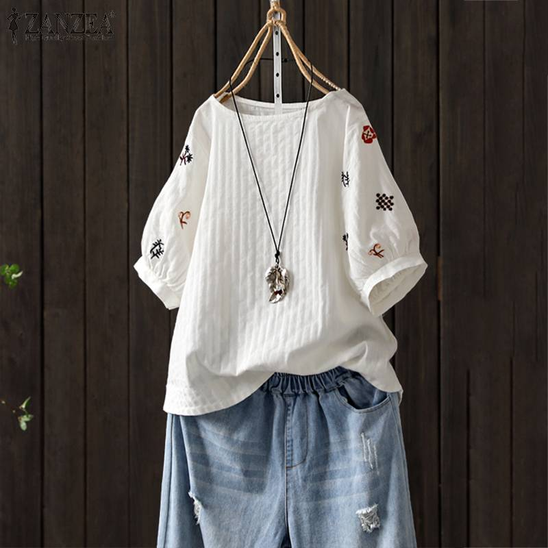 Top Fashion 2019 ZANZEA Women Floral Embroidery Blouse Casual Short Sleeve Cotton Tunic Tops Summer Party Shirts Female Blusas