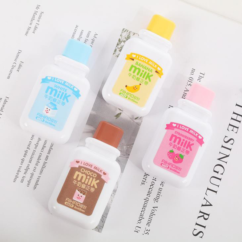 1 Pcs Kawaii 6m Milk Bottle Shape Fruits Correction Tapes Material Escolar Papelaria Korean Stationery Office School Supplies