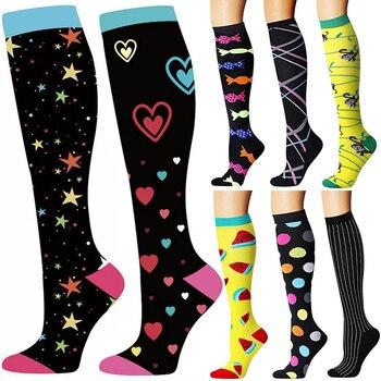 40 estilos de qualidade unisex meias de compressão ciclismo meias apto para edema, diabetes, varizes, correndo maratona meias 1