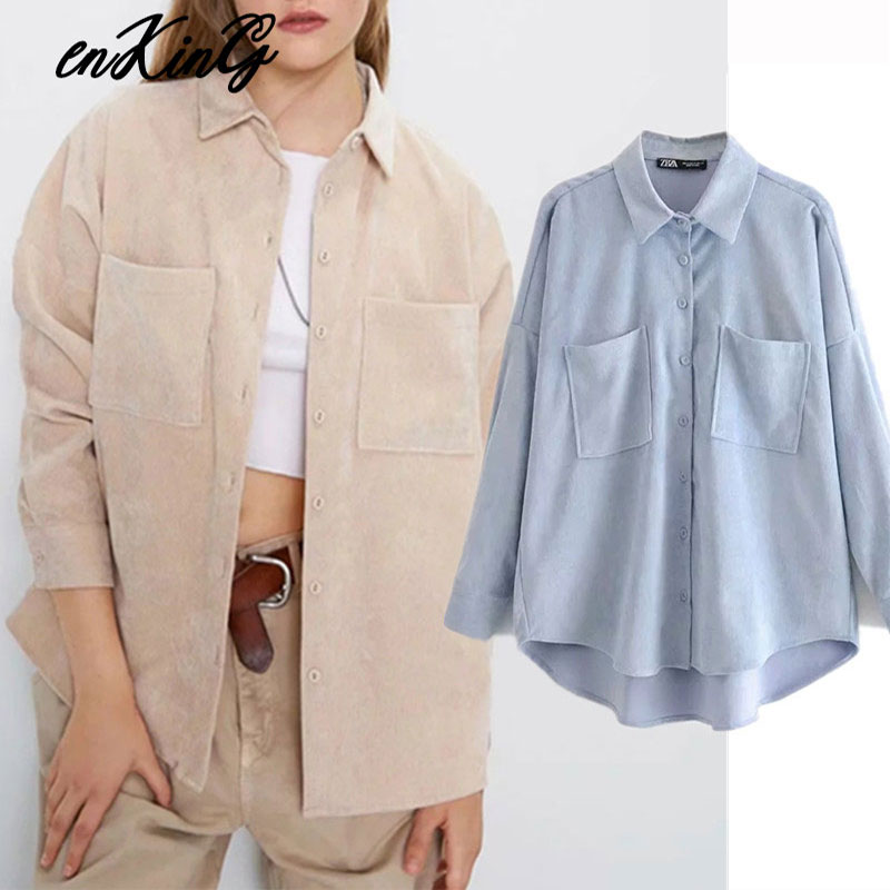 2020  England Preppy Oversize Corduroy Autumn Za Blouse Women Blusas Mujer De Moda 2019 Boyfriend Shirt Womens Tops And Blouses
