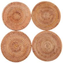 for Hot Dishes-Woven Rattan Hot Pads for Dining Table,Kitchen Heat Resistant Straw Dish Coasters Placemats Pot Holder(China)
